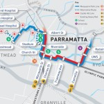Map showing light rail options around Parramatta